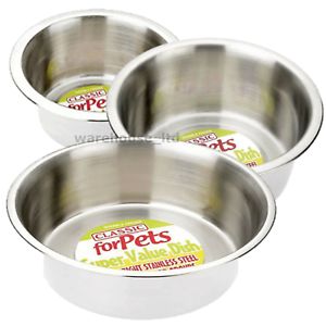Stainless-Steel-Dish-For-Dogs-Cats-Feeding-Bowls-Small-Med-Large-XL-or-Non-Slip