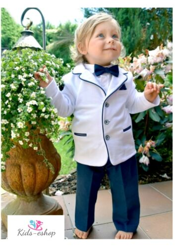 Baby Boy Formal Suit Pageboy Outfit White Navy White Shirt Hat 0-18M