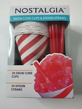 Nostalgia Snow Cone Cups And Spoon Straws 20 Each Unisex Cold Treat Delight New