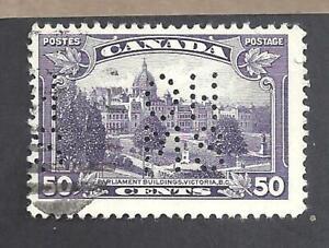 CANADA 50ct VICTORIA BC 5-HOLE OHMS PERFIN SCOTT OA226 FVF USED (BS20075)
