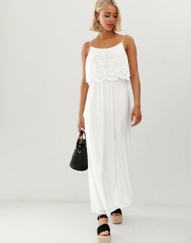 Brave Soul White Broderie Anglais Strappy Summer Maxi Dress size S 8 10 12 Boho