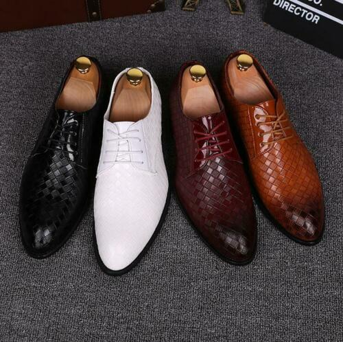 Men/'s Oxfords Lace up Flats Leather Shoes Dress Formal Wedding Business Shoes