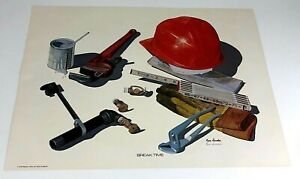 1979-Signed-Print-BREAK-TIME-by-Ken-Dunbar-Photo-realistic-Art-Fire-Pipe-Welding