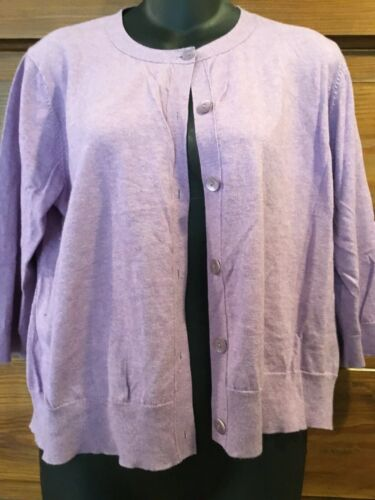 Eileen Fisher Lilac Button Cashmere Cardigan Sweat