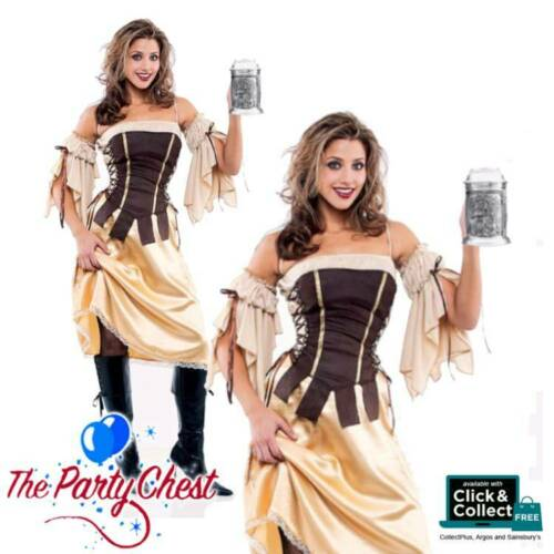 LADIES TAVERN WENCH COSTUME Beer Festival Pirate Medieval Fancy Dress XL XXL 084