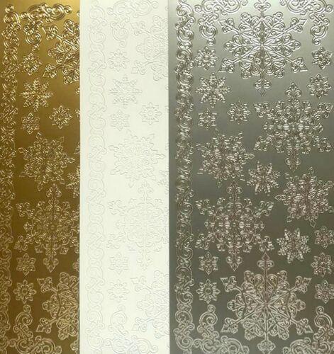 Copos de nieve despegar Hoja Pegatina Plata Oro Blanco elaboración de Tarjetas artesanal Navidad