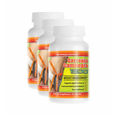 3 Bottles Garcinia Cambogia Extract 1300mg Potassium Calcium 60% HCA Weight Loss