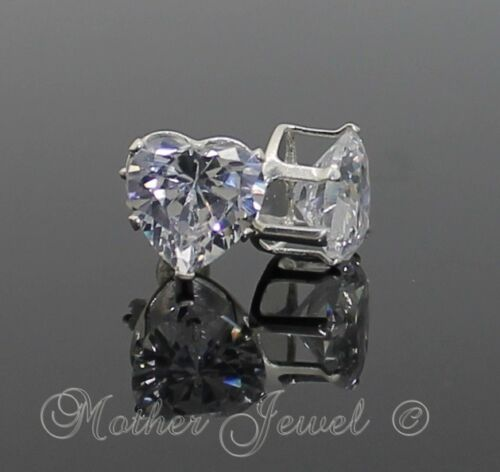 8mm REAL SOLID 925 STERLING SILVER Simulated Diamond Heart Cut Stud Earrings