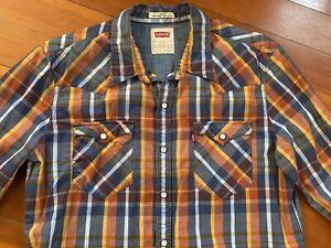 Levi's Plaid Western Shirt Pearl Snap Buttons Women's L Orange / Blue Plaid Slim