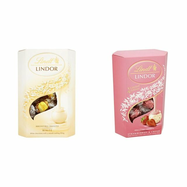 Lindt Lindor White Chocolate Cornet Strawberry And Cream Pack Of 2 Gift Party