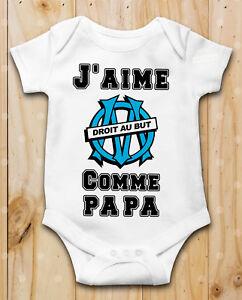e3572bf580538 Body bébé J aime OM olympique de marseille Comme papa Manche Courte ...