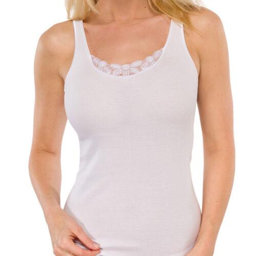 Schiesser  Luxury Träger-Top mit Spitze Unterhemd  weiß 38 40 42 44 46 48 50 NEU