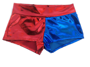 Harley Quinn shorts Blue//Red shiny Metallic  in S 3XL Same Day Shipping