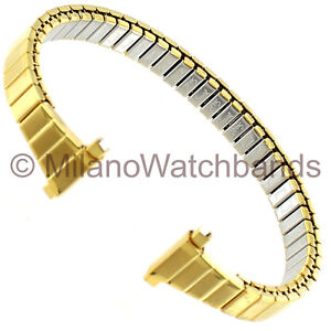 11-14mm-Speidel-Matte-Shiny-Gold-Tone-Stainless-Ladies-Tapered-Watch-Band-259YL