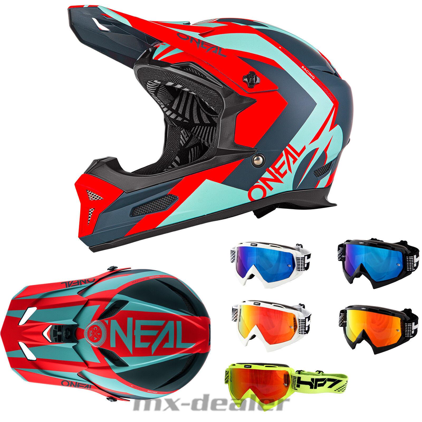 O'Neal 19 FURY RL Hybrid red MTB DH Helm + HP7 Brille Downhill Go Pro Halter BMX