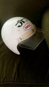 Vintage-Bell-RT-Motorcycle-Helmet-Chopper-Bobber-With-Visor-White-70s-1975-7-3-8