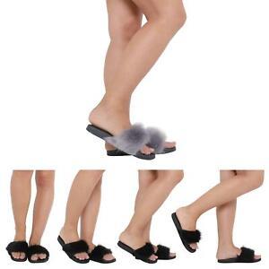 NEW-WOMENS-LADIES-FLUFFY-FAUX-FUR-FLAT-SLIP-ON-RUBBER-SLIDER-SANDALS-SIZE-3-8