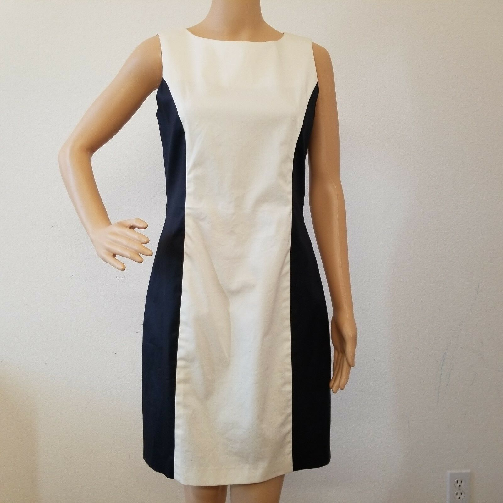 Rag Bone Ivory Navy Sleeveless Sheath Dress Size 8 XP