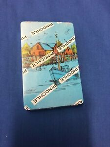 Vintage playing cards boat dock