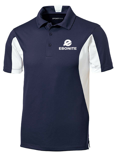Ebonite Men's Champion Performance Polo Bowling Shirt Dri-Fit Navy bluee White