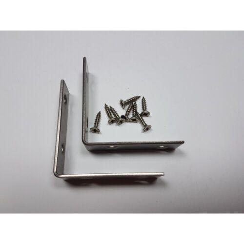 2 St 60 mm Chaise En Acier Inoxydable Angle Meuble Angle Inoxydable avec Vis 4x16 mm