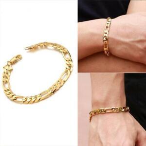 Gold-18K-Uberzog-Herren-Edelstahl-Kandare-Verbindungs-Armband
