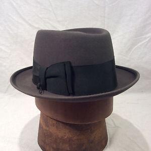 Charcoal Gray Champ Kashmir Finish Pork Pie Men s Vintage Hat with ... 23d246f8320