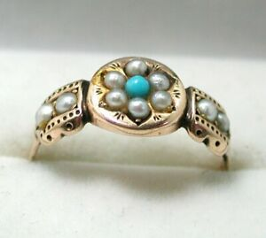 1886 Victorian Lovely 9 carat Rose Gold Pearl And Turquoise Ring Size P