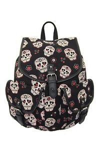 Sugar-Candy-Mexican-Skull-Gothic-Rockabilly-Canvas-Backpack-Bag-Banned-Apparel