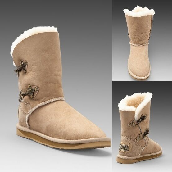 Australia Luxe Collective Comfy Renegade Sand Shearling Buckle Ankle Stivali Shoes