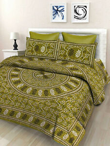 Floral-Print-Cotton-Double-Bed-Sheet-amp-Duvet-Cover-With-4-Pillow-Covers-Green