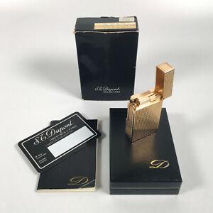 Vintage-S-T-DUPONT-Large-Hobnail-ROSE-GOLD-PLATED-Gas-Lighter-amp-Original-Box