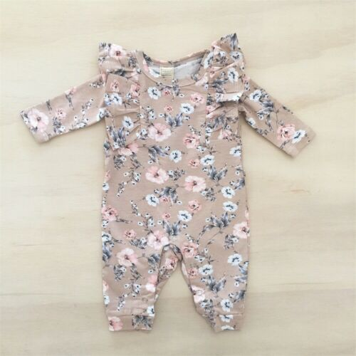 US Newborn Infant Baby Girl Ruffle Floral Romper Bodysuit Dress Clothes Outfit
