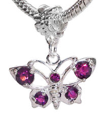 Butterfly Purple Rhinestone February Birthstone Dangle Charm for Euro Bracelets