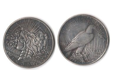 Hobo 1922//1922 Two Faces Peace Dollar Crowned Skull Zombie Skeleton Coin Gift