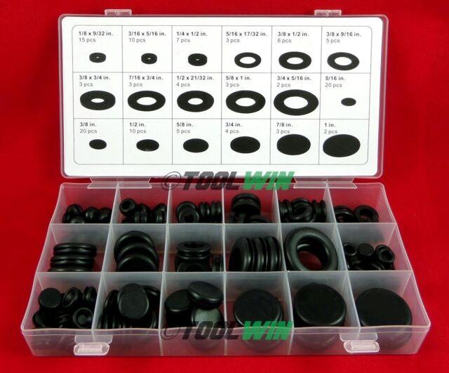 125pc Rubber Grommet Firewall Wire Gasket Solid Hole Plug Assortment Set