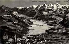 THUN Thuner See Alpen Relief-AK ~1960 s/w Postkarte Ansichtskarte Schweiz