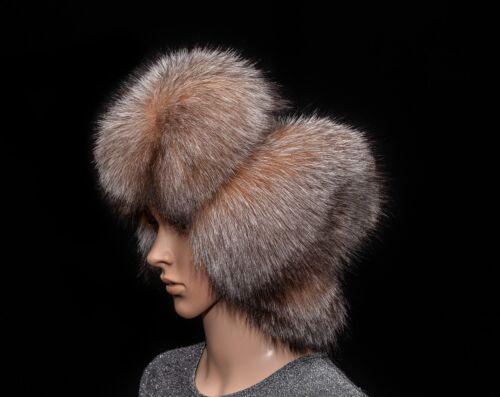 Golden Frost Silver Fox Fur Genuine Leather Handmade Men/'s Bomber Aviator Hat