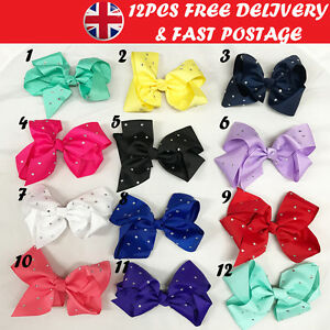 12pcs Hair Bow Rainbow Bows Dance Moms baby /& girls accessories clips 8 /& 5 Inch