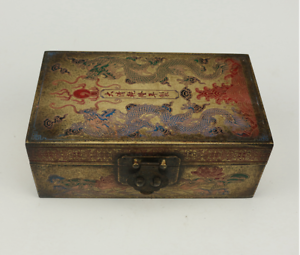 The year system of the Qing Dynasty  brass  Ssangyong  Lotus  Storage box