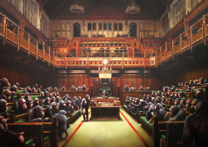 841/x 594/mm Banksy Houses of Parliament Chimps die Commons Kunst Zeitgen/össische K/ünstler Poster A1/