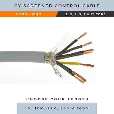 CY CABLE 0.5MM-16MM BRAIDED CONTROL CABLE 2 CORE-12 CORE X1M,10M,25M,50M,100M