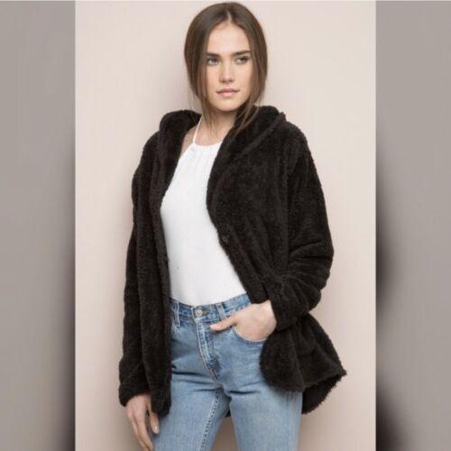 Brandy Melville Black Faux Fur Tessi Coat