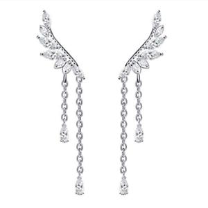 Sterling Silver Angel wings CZ ear Climbers Climber earrings