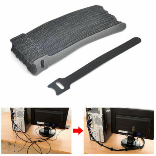 Reusable Nylon Strap Hook and Loop Cable Cord Ties Tidy Organizer Durable 50PCS