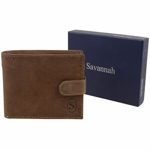 Mens-Hunter-Leather-Wallet-with-Tab-amp-Change-Section-Savannah-Gift-Boxed
