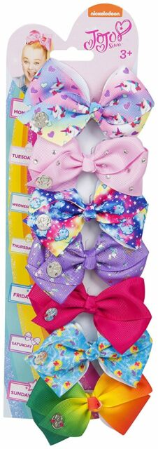 Jojo Siwa Hair Clip Bows Set of 7 One For Everyday - 8 cm Hair Bows with Unicorn