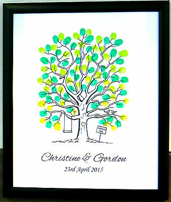 Personalised Large A1 A2 A3 A4 Fingerprint Tree Guest Book Wedding Christening17