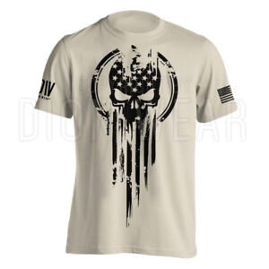 American-Warrior-Flag-Skull-Military-T-Shirt-Army-S-3XL