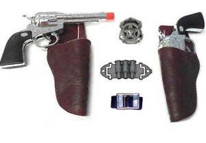 Kids Western Cowboy Gun & Holster Set w/Badge + Belt & Ammo